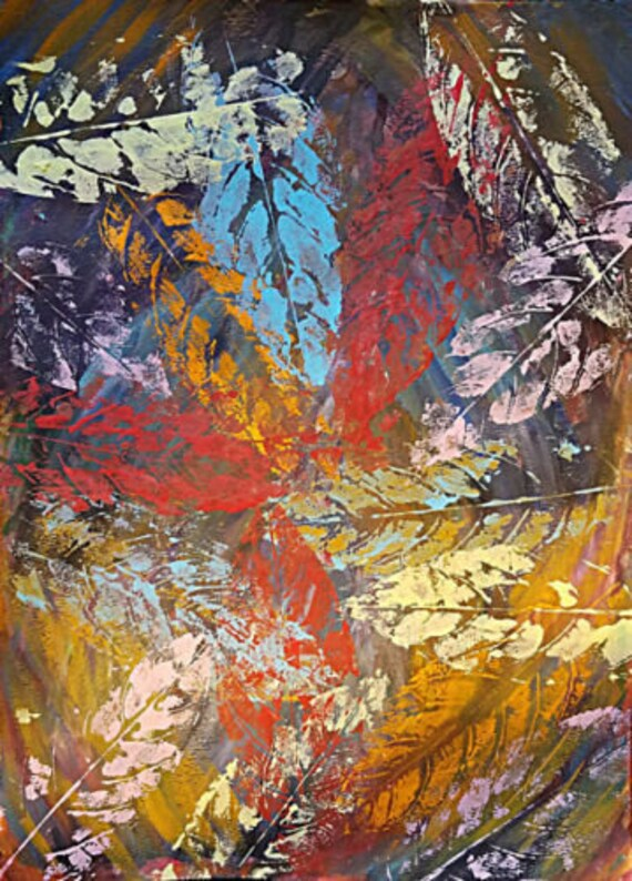"""Leaves nature Abstract art original painting acrylics modern colorful 11"""" x 15"""" home decor gifts"""
