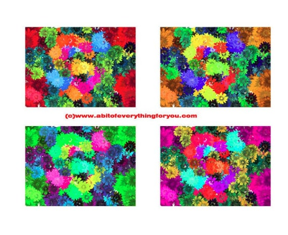"4 large floral daisy flowers digital background patterns 12"" x 16.6"" backdrops abstract art printable downloadable image graphics prints"