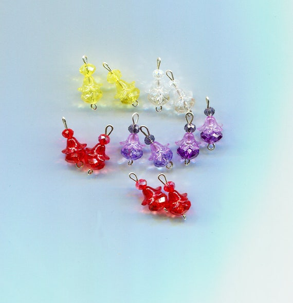 12 flower bead drops charms glass plastic bead pendants 10 piece 20mm long
