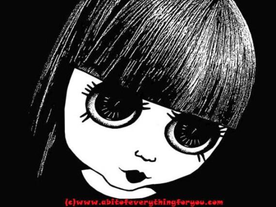 creepy Big eye goth doll girl printable art digital download image graphics girls room decor black and white print out DIY Decor
