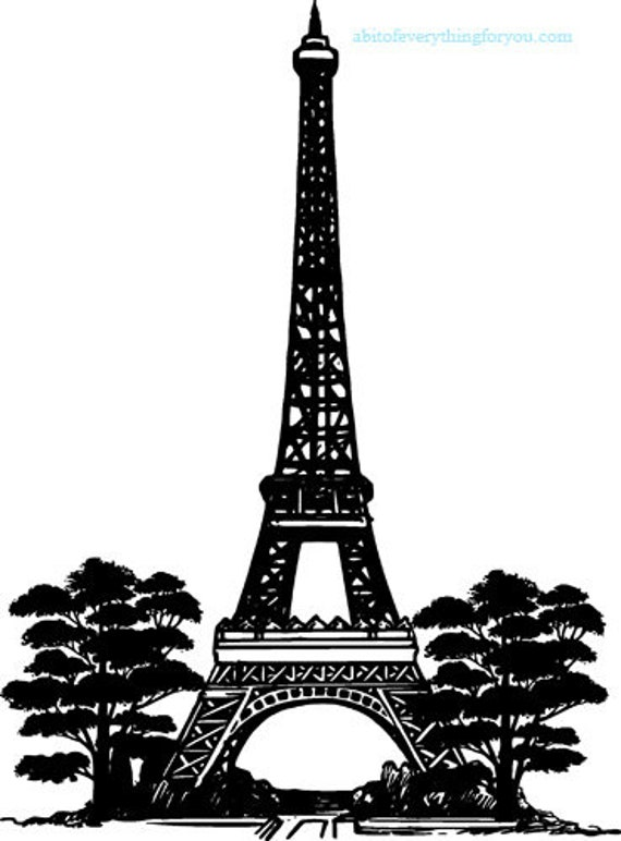 eiffel tower trees silhouette printable art print paris france clipart png download digital image graphics digital stamp travel artwork
