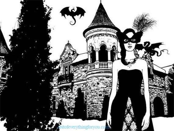 masquerade ball Dragon Queen printable art modern illustration digital download image fantasy castle graphics black and white digital print