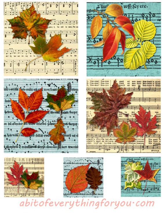 """leafs leaf sheet music collage sheet digital download 3.8"""" x 3.8"""" & 2"""" graphics downloadable images musical notes nature printables"""