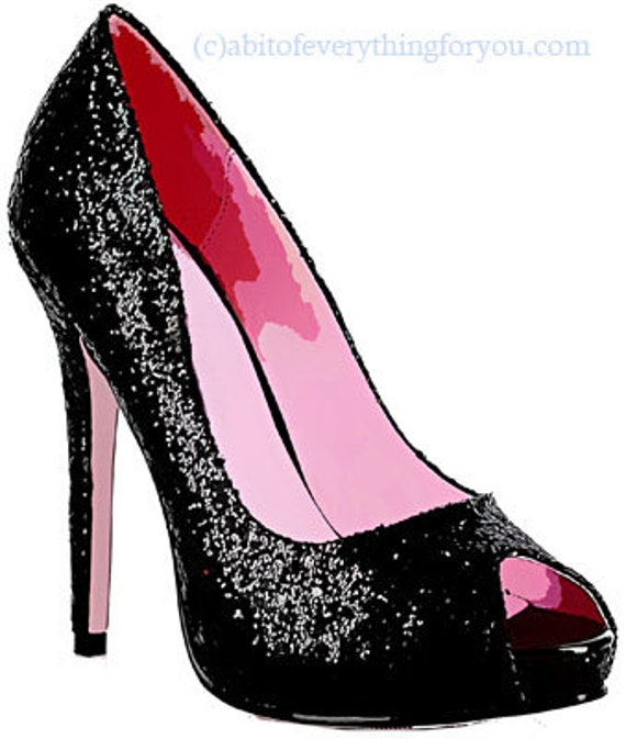 black and pink sparkle glitter high heel shoe printable fashion art clipart png download digital image graphics