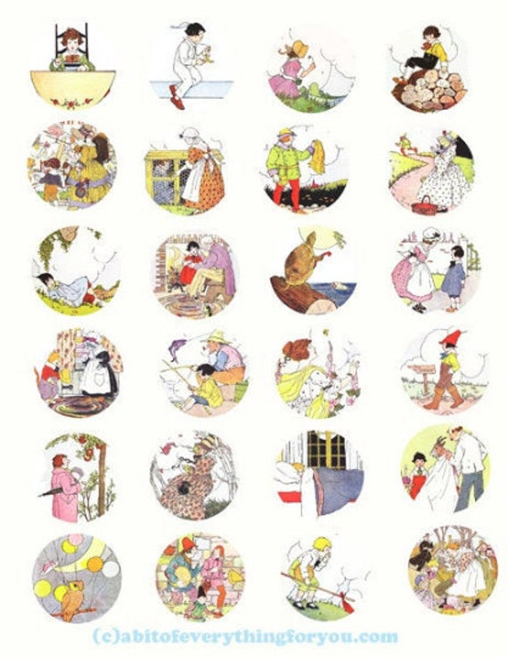 digital download collage sheet vintage mother goose nursery rhymes art clipart 1.5 inch circles images printables pendants diy jewelry