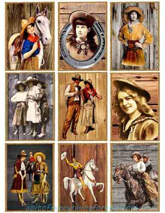 "vintage cowboys cowgirls on wood rodeo collage sheet digital download 2.5"" x 3.5"" graphics downloadable images country western printables"