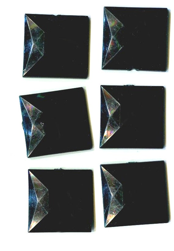 25mm black square flat back cabochons plastic cabs embellishments vintage loose