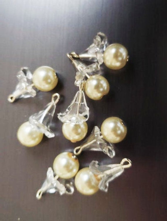 white pearl flower drop charms acrylic flower bead drops pearl pendants lot handmade jewelry supplies