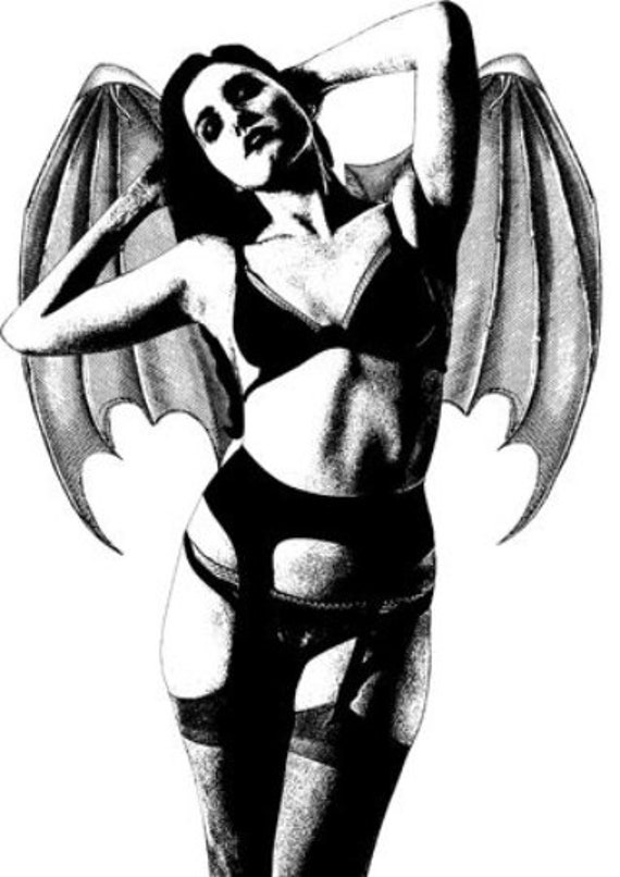 sexy pinup girl goth Vampire Womanclipart png jpg printable art bat wings instant download horror monsters image graphics