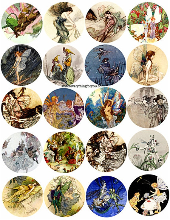 victorian vintage fairy fairies collage sheet 2 inch circles clip art digital downloadable graphics images download printables