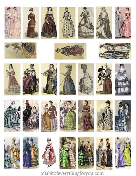 vintage fashion 1600s to 1900s people clip art digital download collage sheet 1 x 2 inch dominos graphics images printables pendants magnets