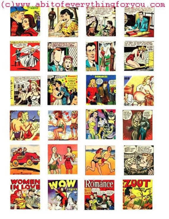 romance comics art collage sheet 1.5 inch squares clip art digital download graphics images craft printables