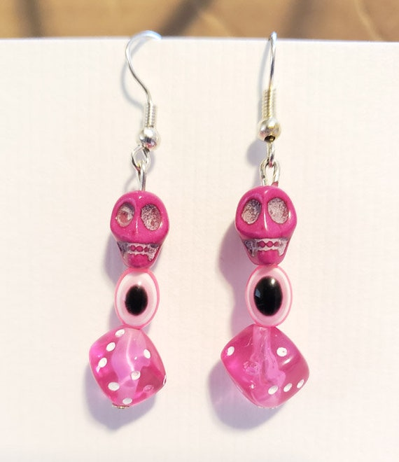 pink sugar skull evil eye dice earrings bead dangles day of the dead goth punk handmade jewelry