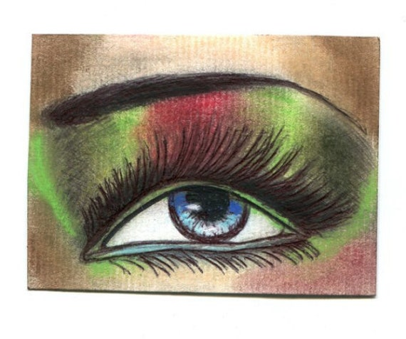 Aceo original eye art drawing womans blue eye shadow makeup miniature artwork trading card