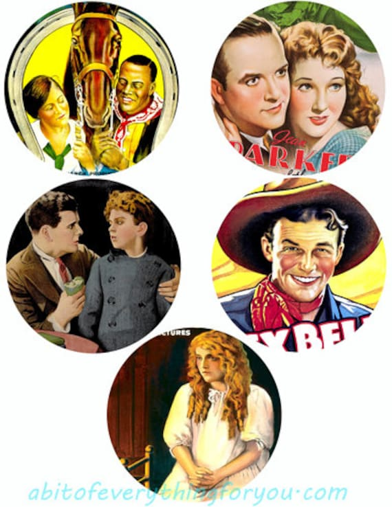 """vintage movie posters collage sheet digital download 3.8""""circles early 1900s graphics downloadable images printables"""