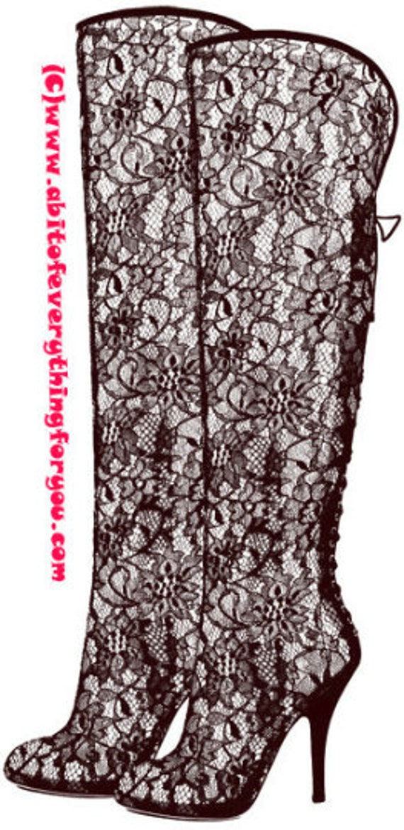 Victorian lace high heel boots shoe printable art print clipart png download digital image graphics digital stamp black red blue 3 colors