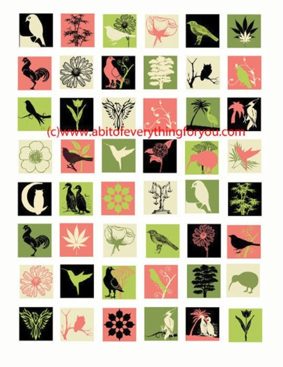 birds plants nature silhouette clip art digital download collage sheet 1 inch squares graphics images craft printables