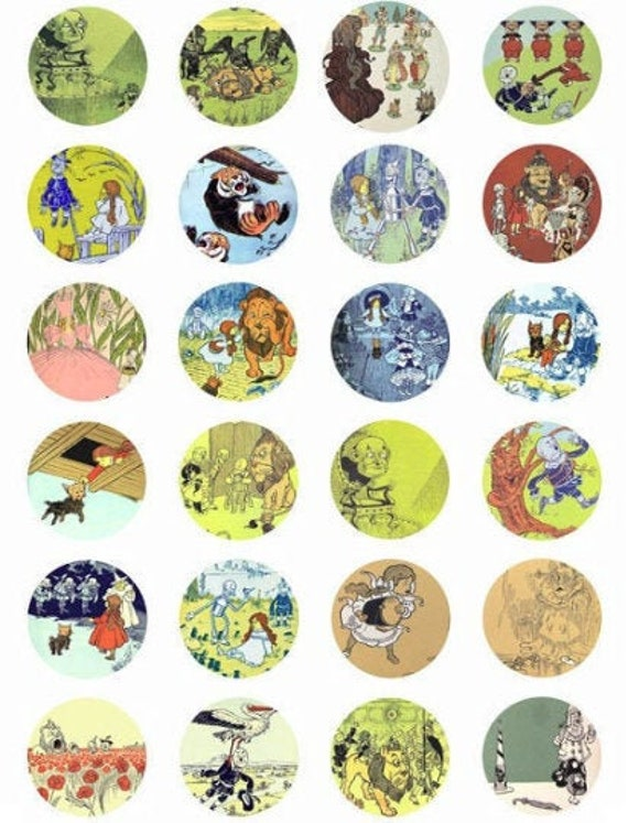 """vintage wizard of oz collage sheet clipart digital download 1.5"""" circles downloadable images fairytale diy jewelry making printables"""