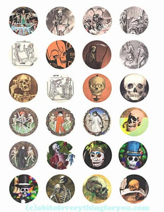 "day of the dead sugar skulls collage sheet skeletons vintage art digital download 1.5"" inch circles clipart macabre images craft printable"