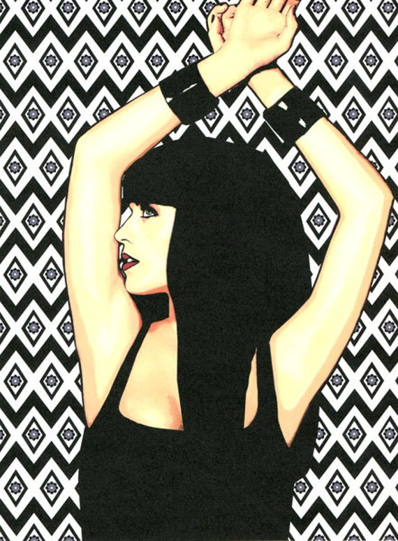 Dominatrix Woman print original erotica art goth beauty modern pop art diamond pattern sexy vixen art gothic woman