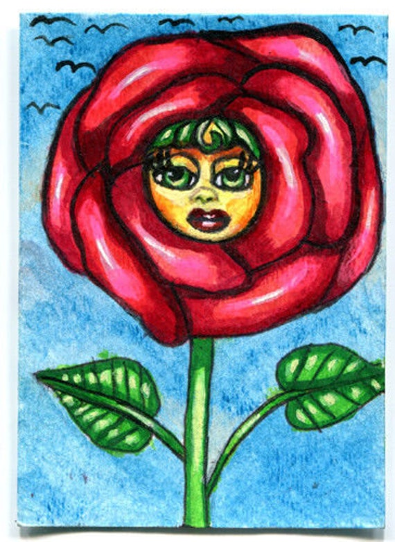 red yellow rose girl flower painting aceo original art atc acrylics fairytale whimsical fantasy modern miniature artwork