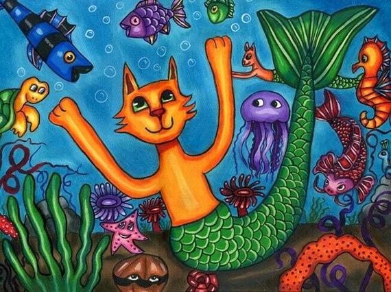 "Fantasy animals cat mermaid art painting original fish fairytale 11"" x 15"""
