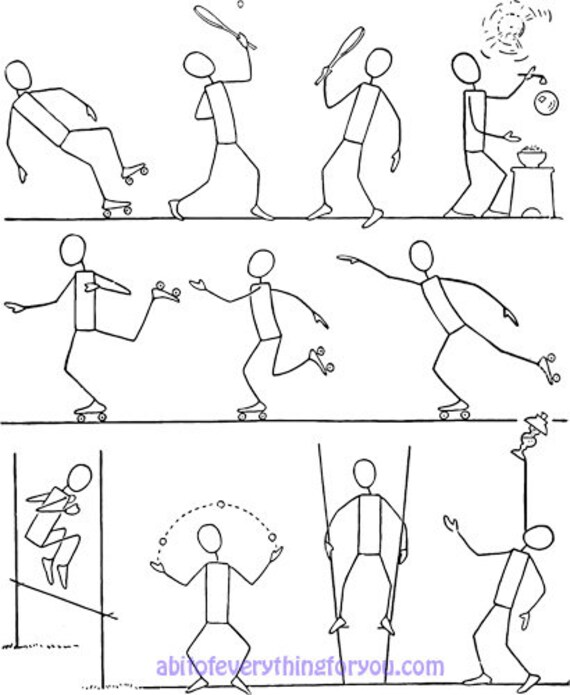 stick people action poses printable art print clipart png download digital image downloadable cartoon graphics digital stamp
