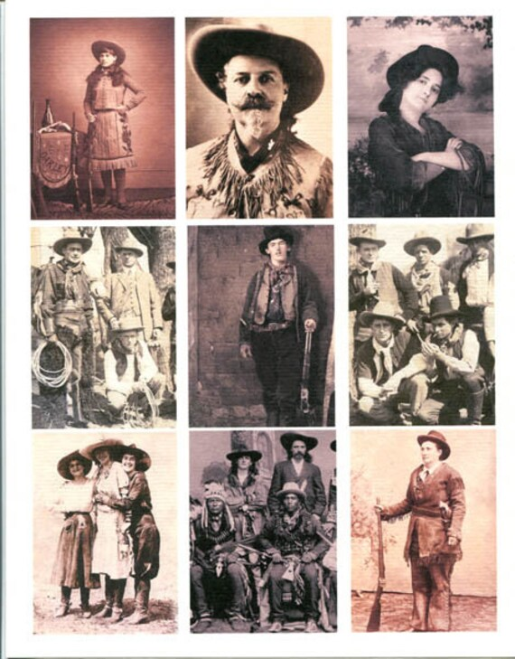 antique cowboy and cowgirl photographs collage sheet print scrapbooking crafts paper