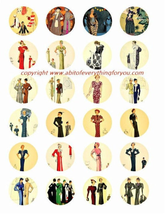 "vintage 1920s flapper girl fashion clip art digital download collage sheet 1.5"" inch circles graphics images craft printables"