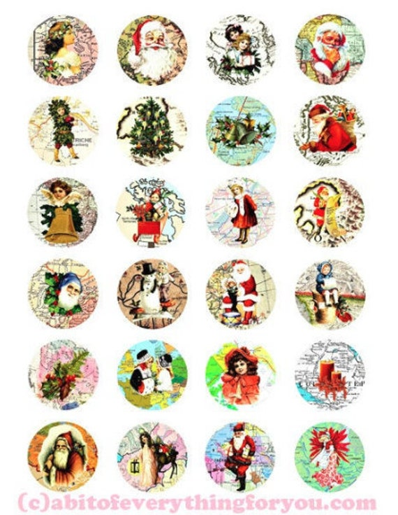 "CHRISTMAS around the WORLD MAPS clipart digital download collage sheet 1.5"" circles downloadable graphics printable images diy pendants"