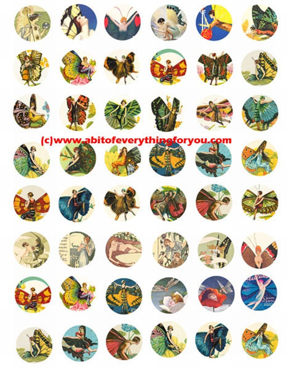 deco flapper girl fairytale fairies art collage sheet 1 inch circles clip art digital download graphics images craft printables