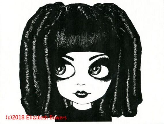 big eye gothic girl original art print  ringlet curly hair big eyes modern ink black white kids room art nursery home decor