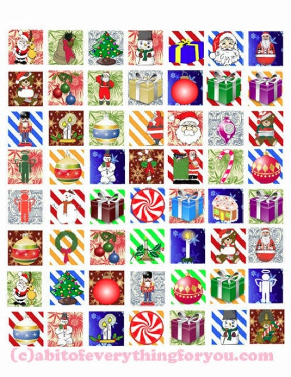 santa claus christmas clipart wrapping paper digital download graphics collage sheet 1 inch squares images candy cane stripes printables
