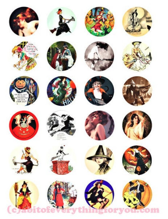 "halloween witches pinup girls collage sheet clipart digital download 1.5"" circles downloadable images vintage diy jewelry printables"