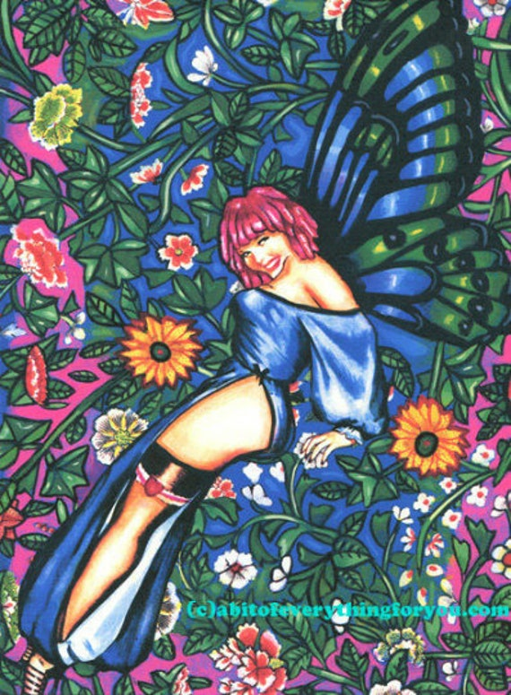 butterfly fairy pin up girl art print, pinup girl painting, flower Garden fairy, fantasy fairies original art, modern sexy faeries