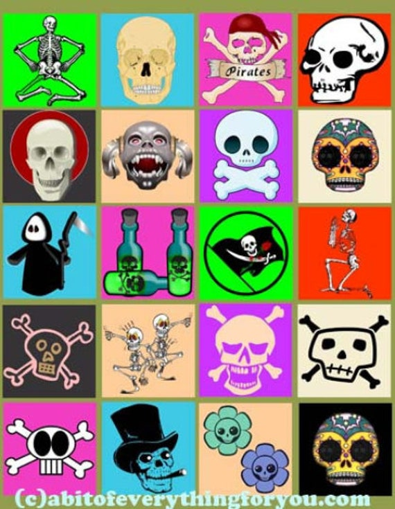 digital download collage sheet cartoon skulls skeletons day of the dead clip art 2 inch squares graphics images printables posters