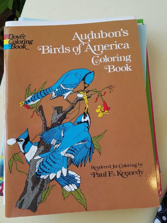 vintage Audubons Birds Of America coloring book animals line art 1974 copyright