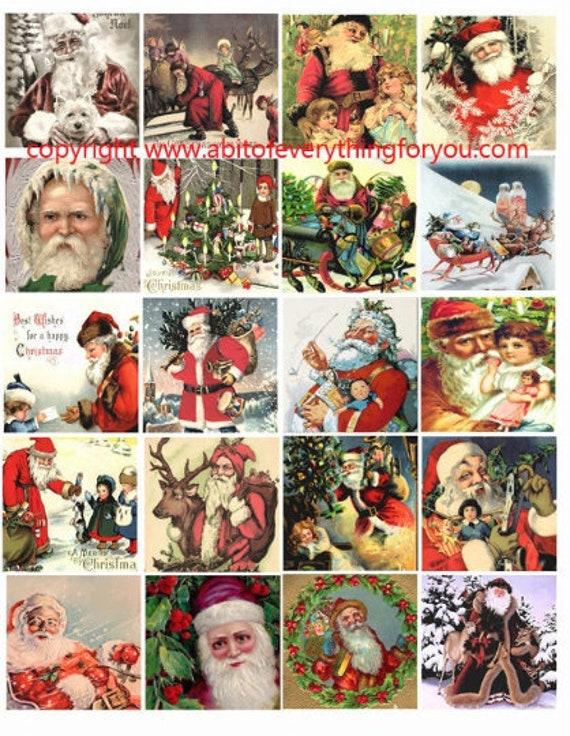 santa claus vintage art clip art digital download collage sheet 2 inch squares christmas graphics images printables