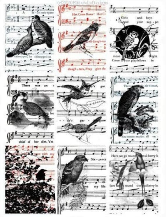 "vintage ephemera song birds sheet music collage sheet 2.5"" x 3.5"" inch clipart aceo images digital instant download printables DIY crafts"