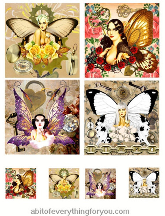 "collage sheet steampunk fairy pinup girls digital download 3.8"" inch squares graphics downloadable images printables diy crafts scrapbooking"