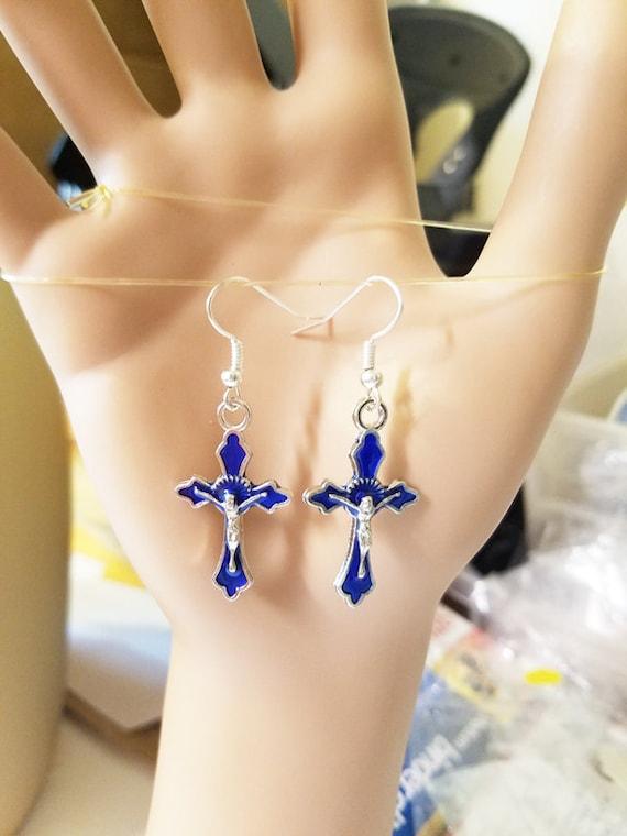blue enamel cross earrings metal dangles crucifix earrings religious handmade jewelry