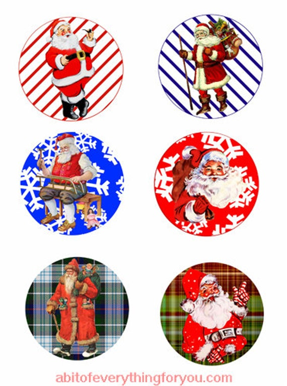 vintage santa christmas collage sheet clipart digital download 3.5 inch inch circles graphics images printables diy jewelry making ornaments