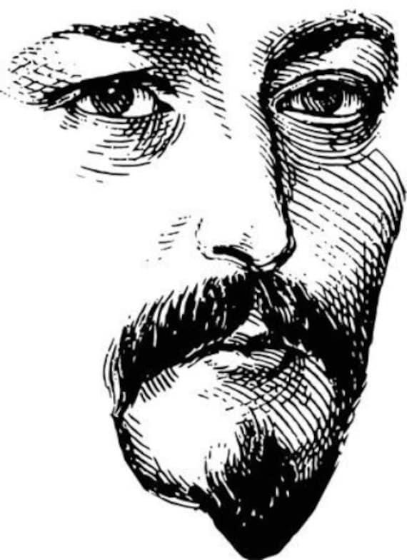 handsome mans face moustache mustache beard vintage printable art clipart png jpg svg vector portrait download digital image graphics
