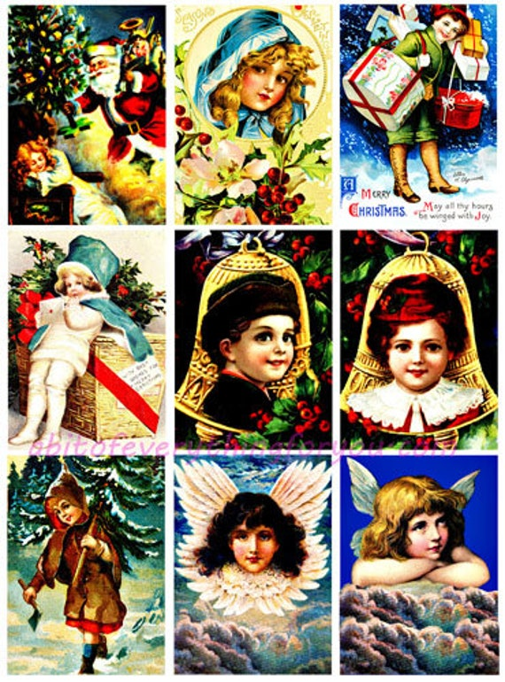 "Vintage Christmas children bells angels art collage sheet printables digital download 2.5"" x 3.5"" graphics downloadable x mas images"