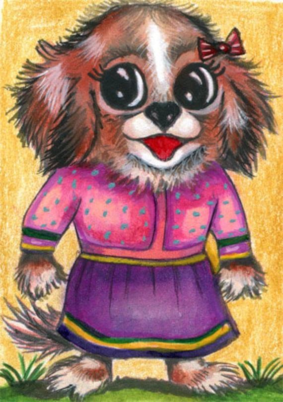 girl puppy dog pink dress original aceo art drawing mixed media animal pets miniature artwork by Elizavella