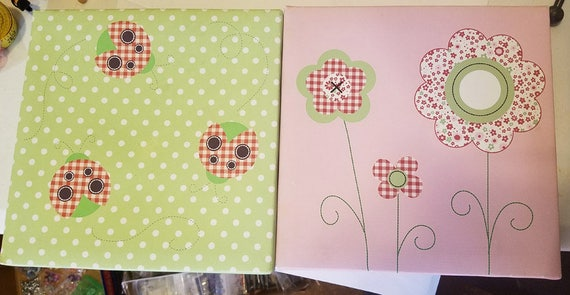 "2 framed canvas prints flowers lady bugs nursery room green pink polka dots 9"" x 9"" kids room art vintage home bedroom wall decor"