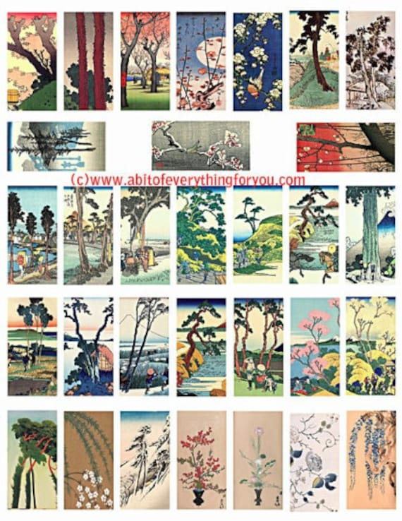 "chinese japanese vintage trees flowers watercolor clipart digital download domino collage sheet 1"" x 2"" inch graphics images"