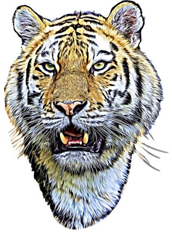 jungle Siberian tiger head realistic png jpg clipart printable art digital instant download animals safari clipart downloadable files