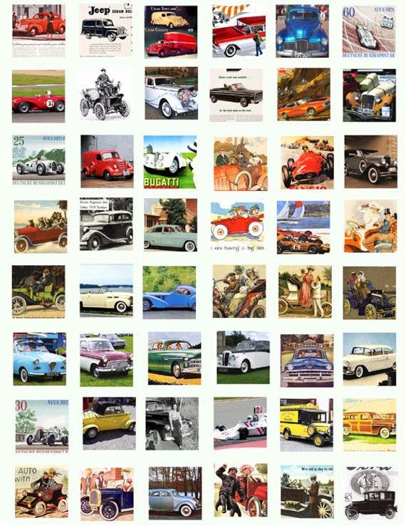 antique vintage classic cars trucks clip art digital download collage sheet 1 inch squares graphics images pendant printables