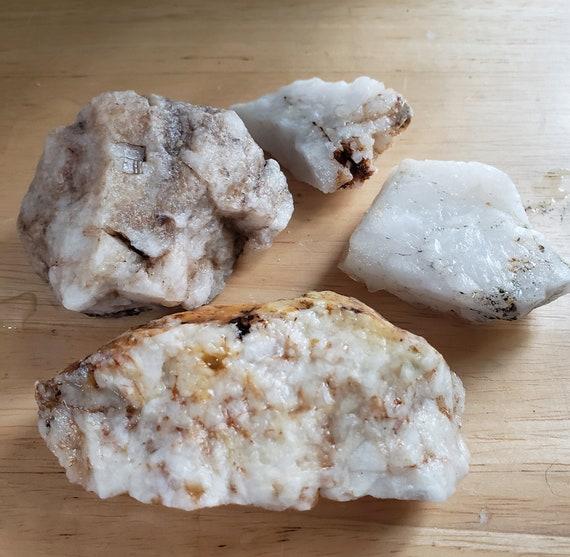 4 pc white milky Quartz crystal Rocks nuggets stone gemstone Montana 1lb raw snow quartz pyrite minerals healing feng shui natural decor